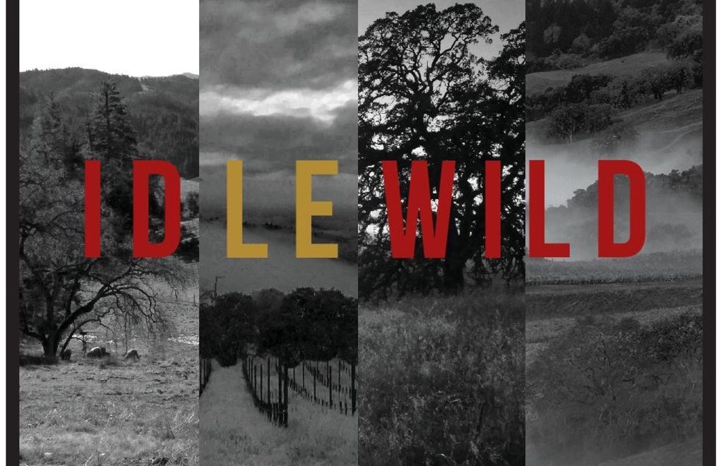 Montage graphic of vineyards with Idlewild Wines name