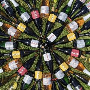Array of wine bottles arranged in sunburst pattern on grass